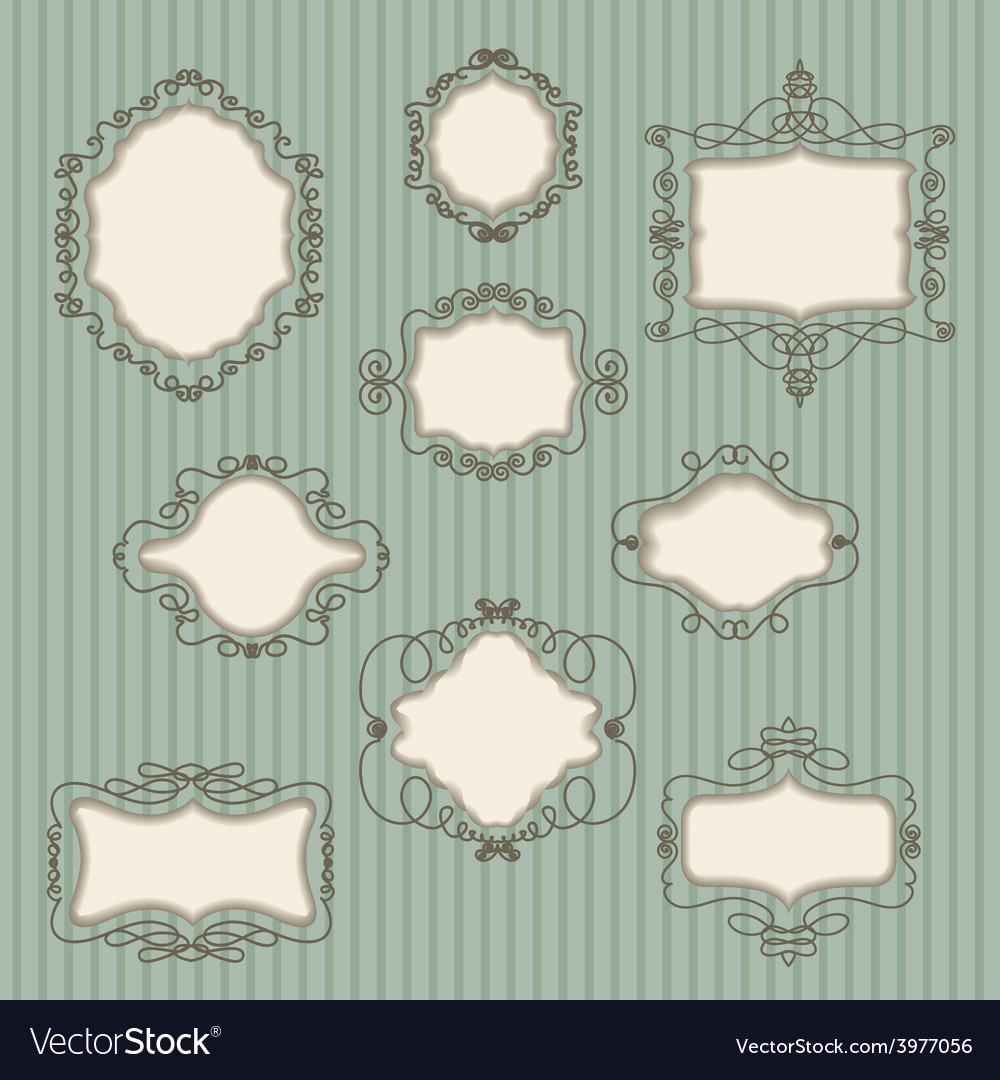 Set doodle retro frames vector | Price: 1 Credit (USD $1)