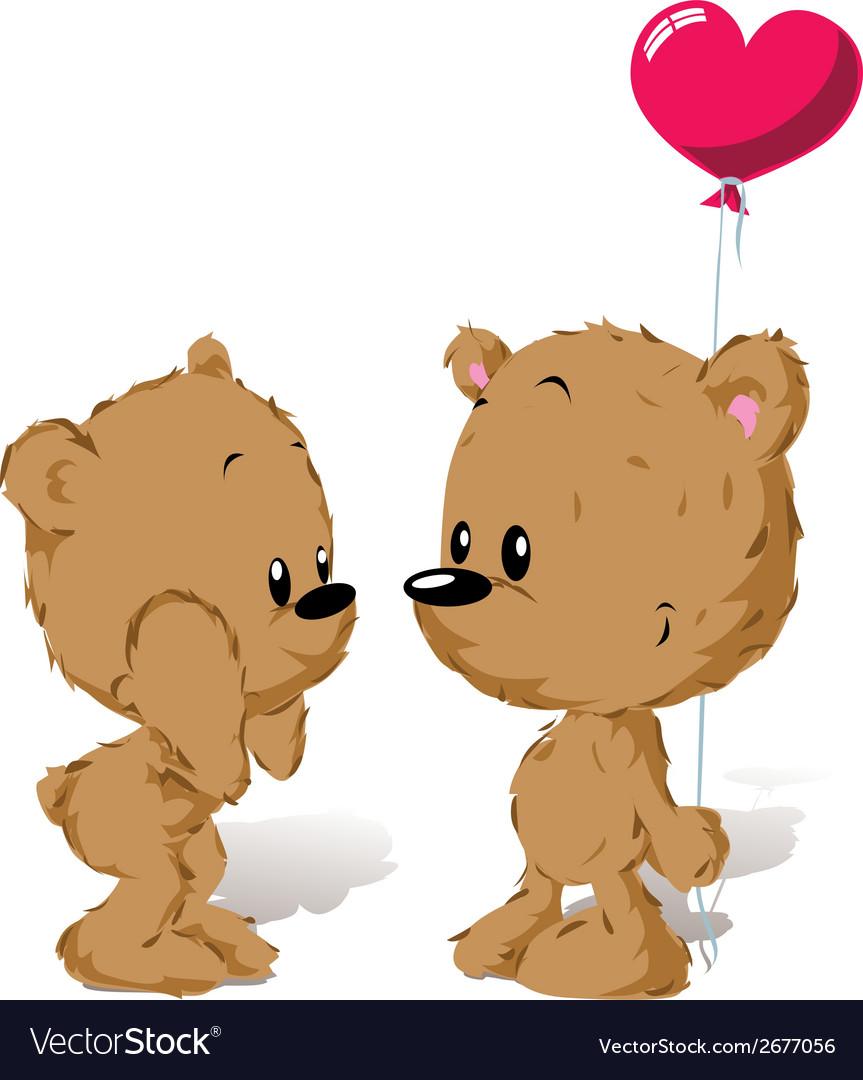 Valentine bear couple vector | Price: 1 Credit (USD $1)