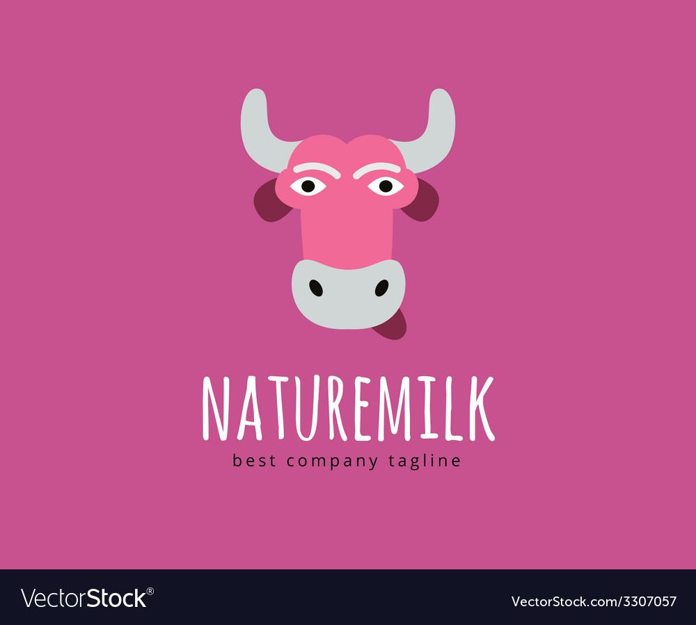 Abstract cartoon cow head logo icon concept vector | Price: 1 Credit (USD $1)