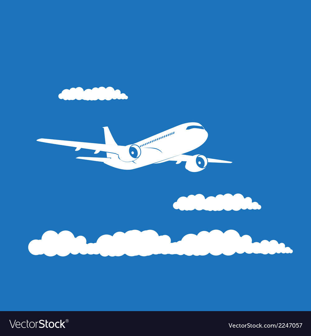 Airplane silhouette with clouds on blue background vector | Price: 1 Credit (USD $1)