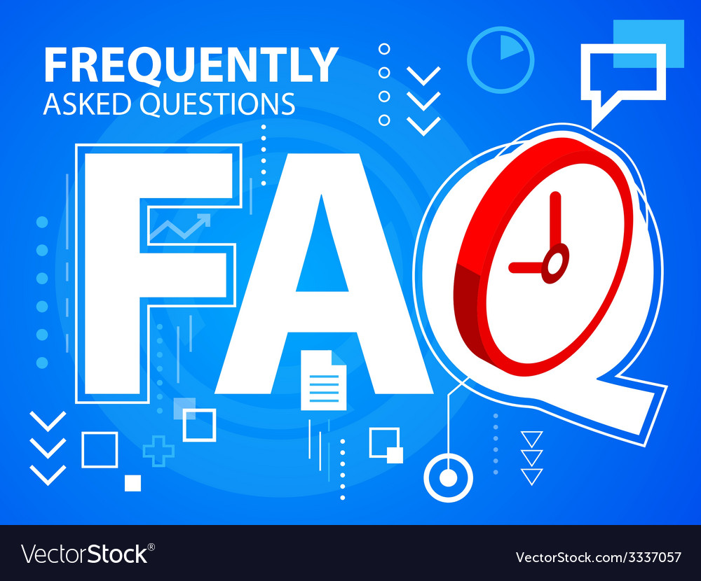 Bright faq and clock on blue background for vector | Price: 3 Credit (USD $3)