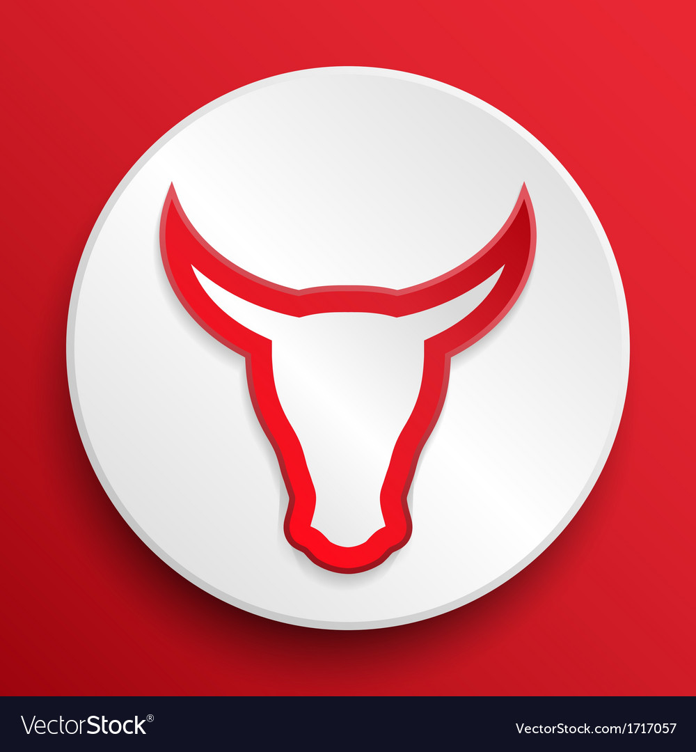 Bull head button symbol vector | Price: 1 Credit (USD $1)