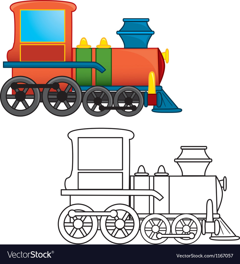 Cartoon locomotive vector | Price: 1 Credit (USD $1)