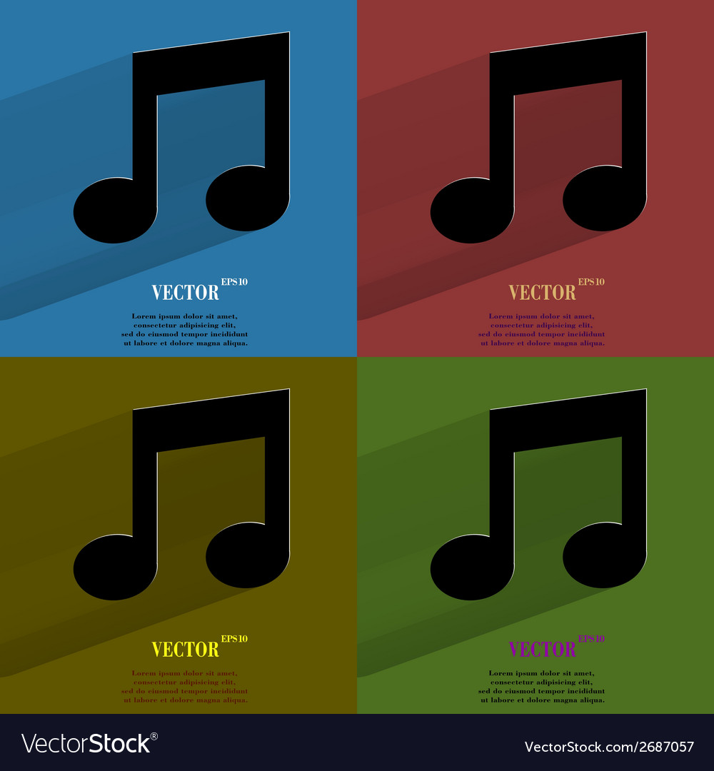 Color set music note flat modern web button with vector | Price: 1 Credit (USD $1)