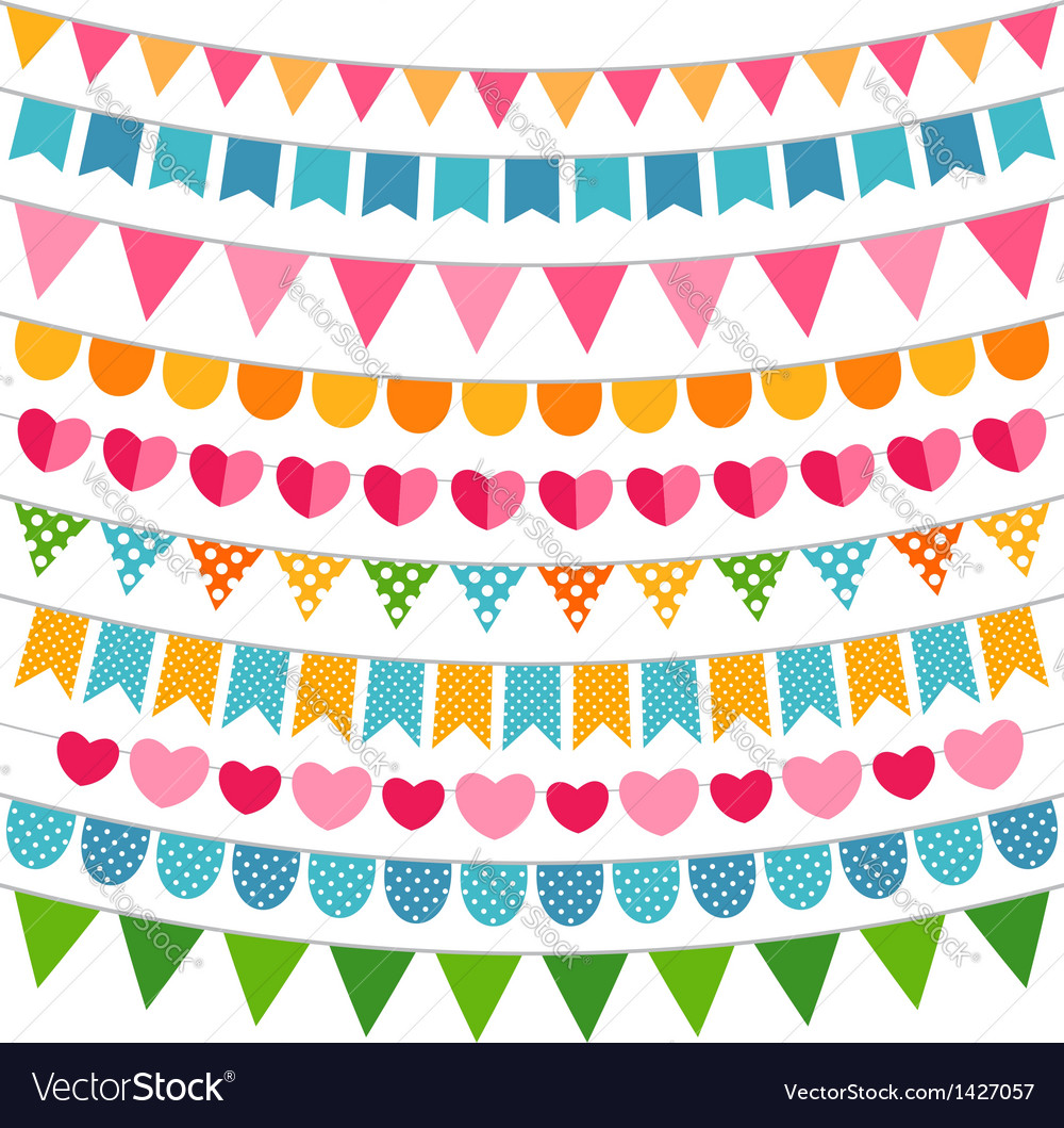 Colorful garlands and bunting flags vector | Price: 1 Credit (USD $1)