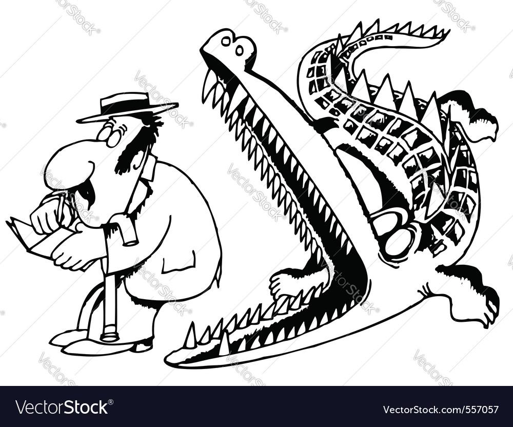 Crocodile eats a man vector | Price: 1 Credit (USD $1)