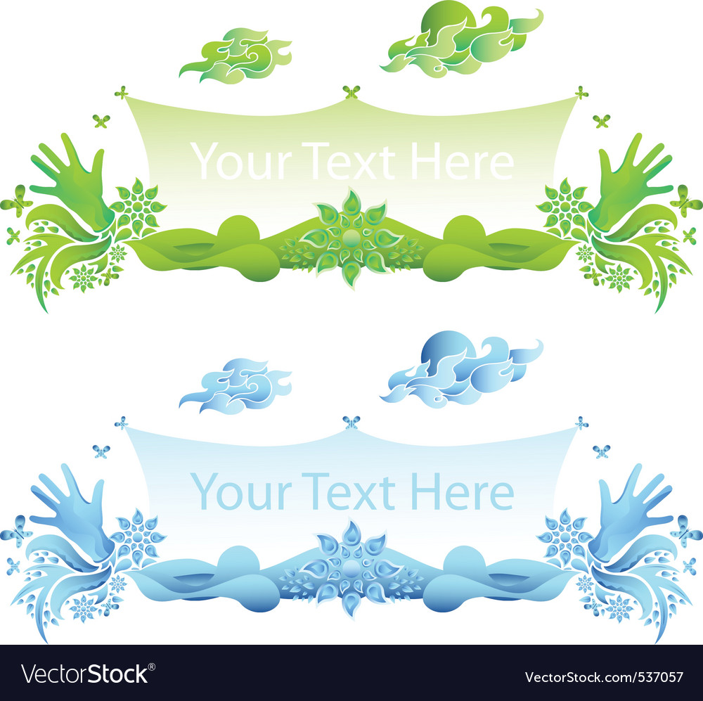 Delic hands and flowers banner vector backgr vector | Price: 1 Credit (USD $1)