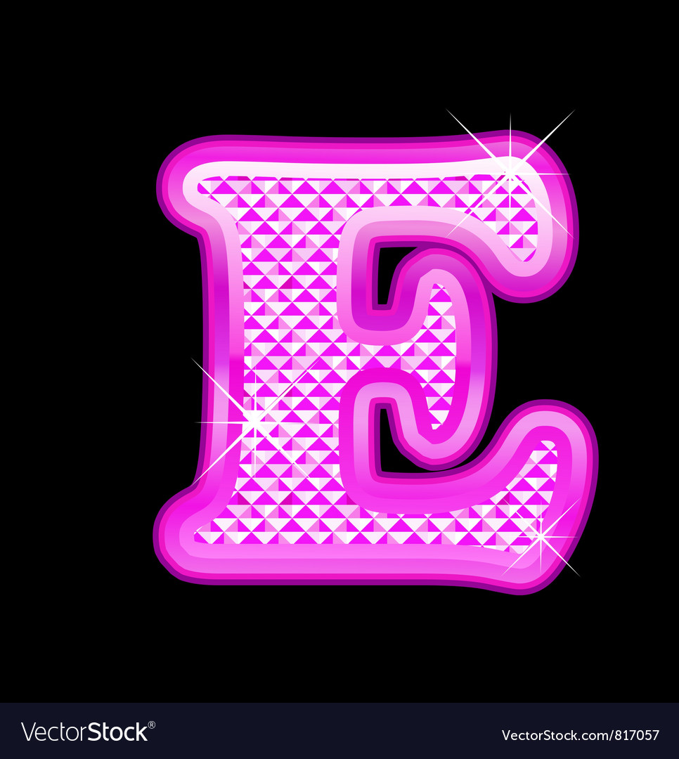 E letter pink bling girly vector | Price: 1 Credit (USD $1)