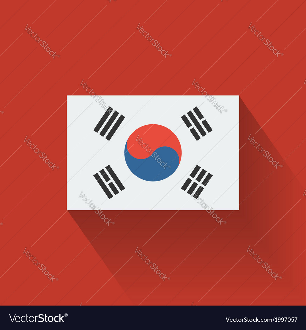 Flat flag of south korea vector | Price: 1 Credit (USD $1)