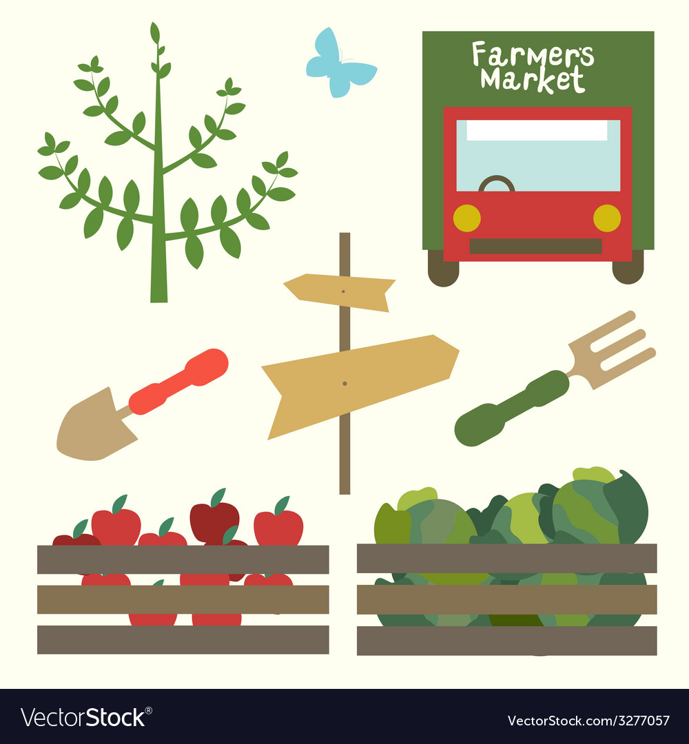 Garden market set vector | Price: 1 Credit (USD $1)
