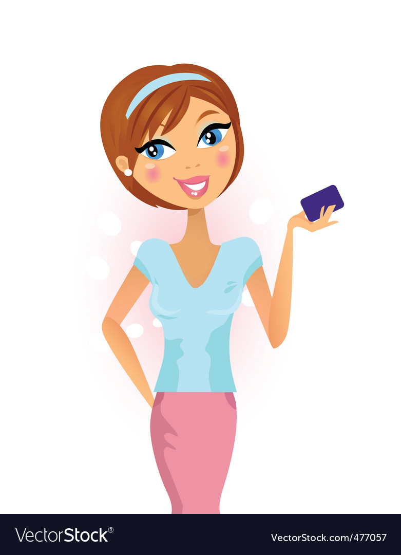 Happy woman with credit card vector | Price: 1 Credit (USD $1)