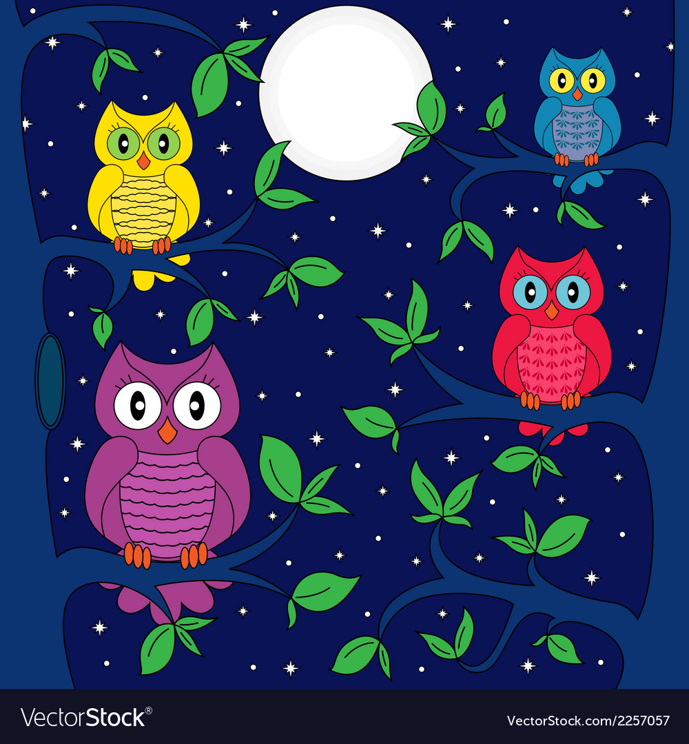 Owls in a moonlit night vector | Price: 1 Credit (USD $1)