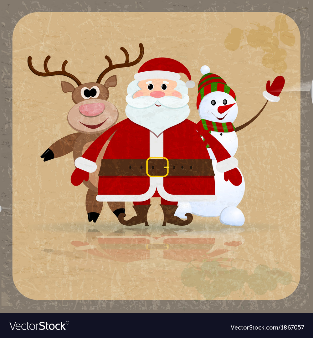 Santa claus snowman and reindeer vector | Price: 1 Credit (USD $1)