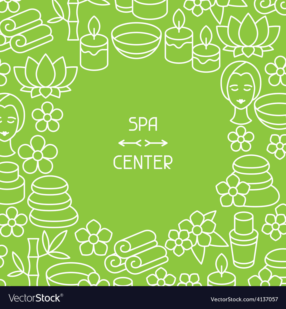 Spa and recreation background with icons in linear vector | Price: 1 Credit (USD $1)