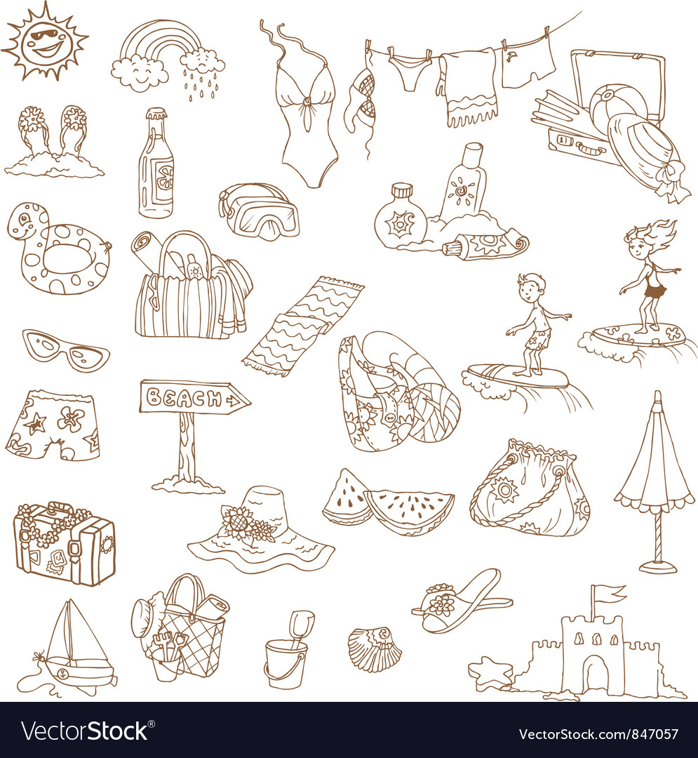 Summer holiday doodle collection vector | Price: 1 Credit (USD $1)