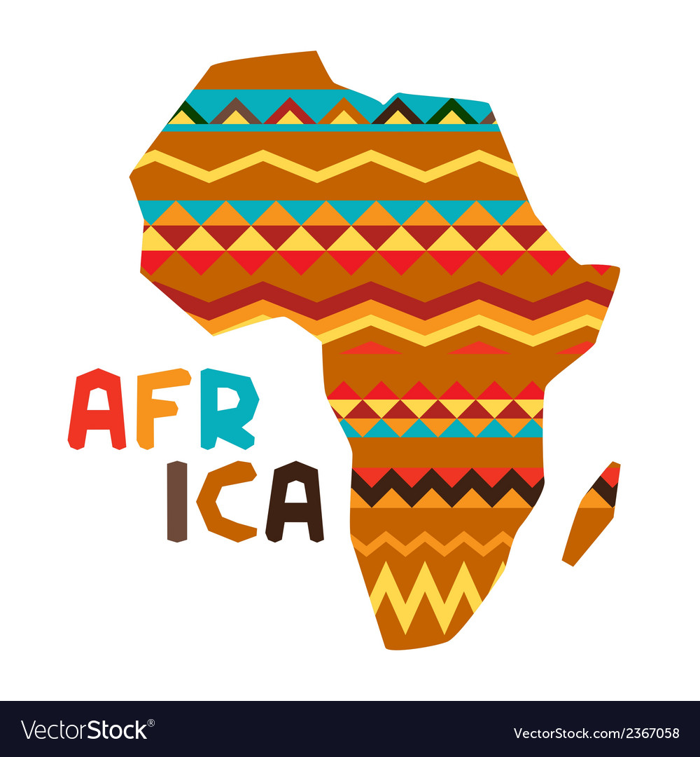 African ethnic background with of ornate map vector | Price: 1 Credit (USD $1)