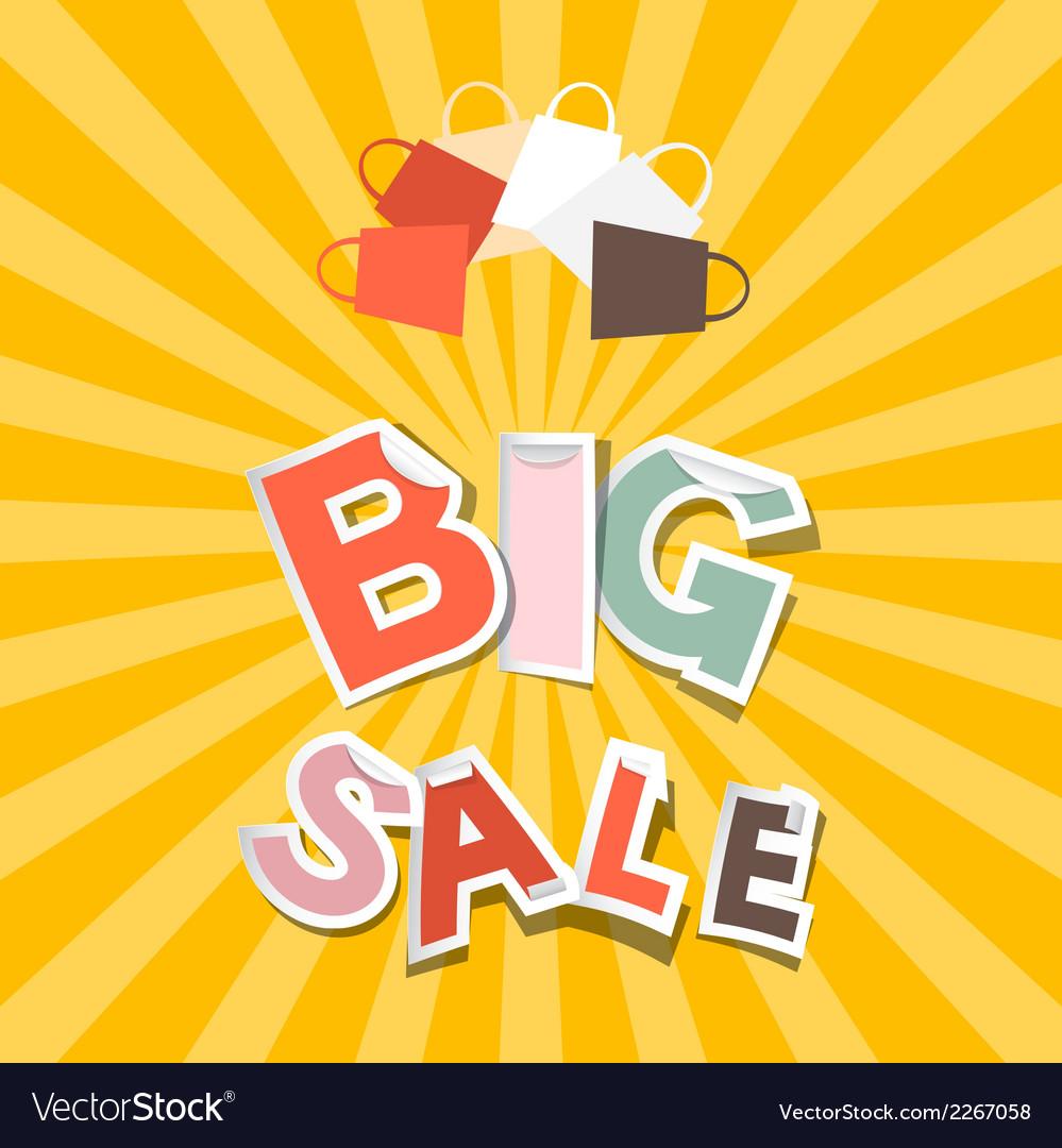 Big sale paper title on retro orange - yellow vector | Price: 1 Credit (USD $1)