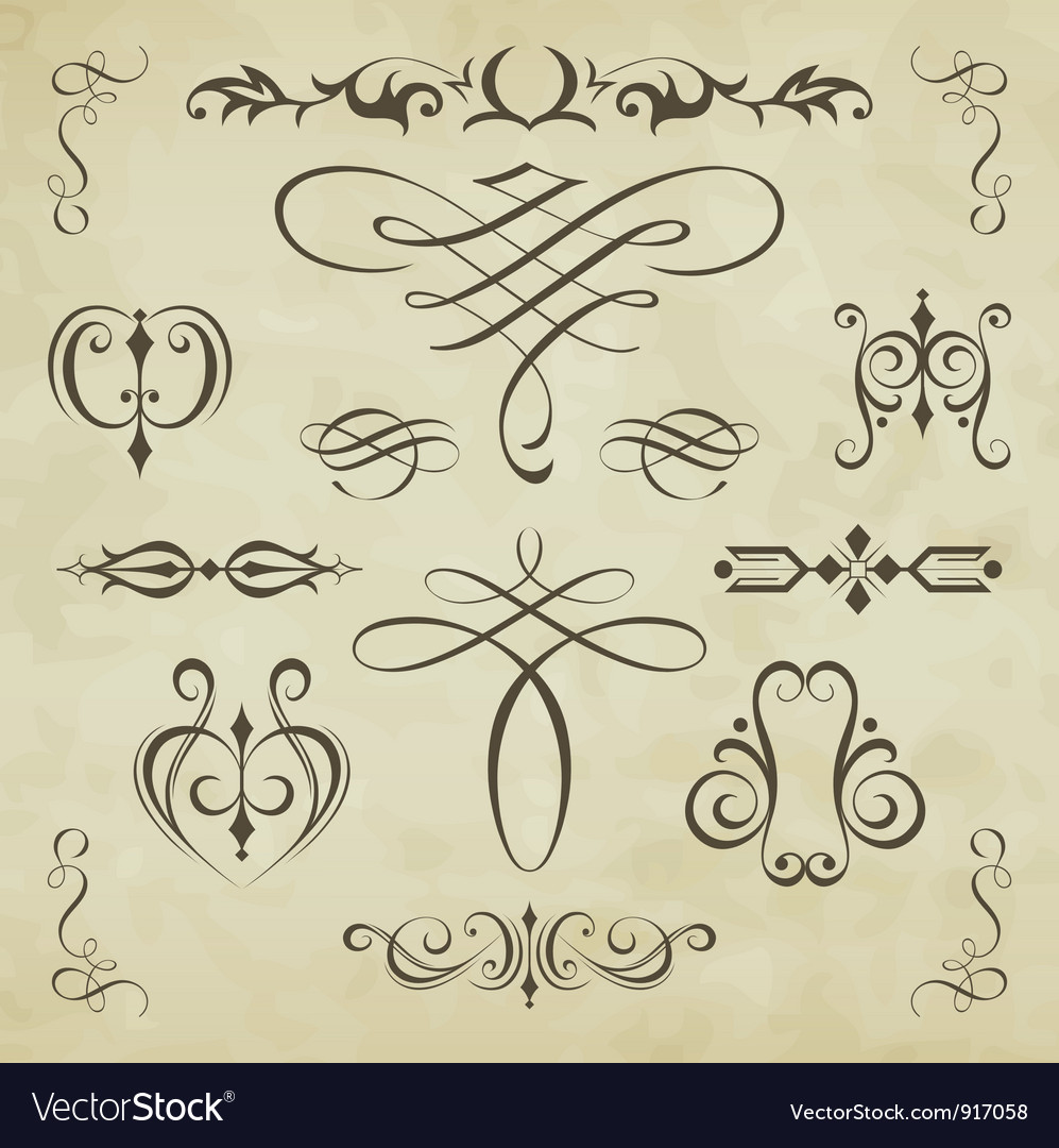 Calligraphic elements vector | Price:  Credit (USD $)