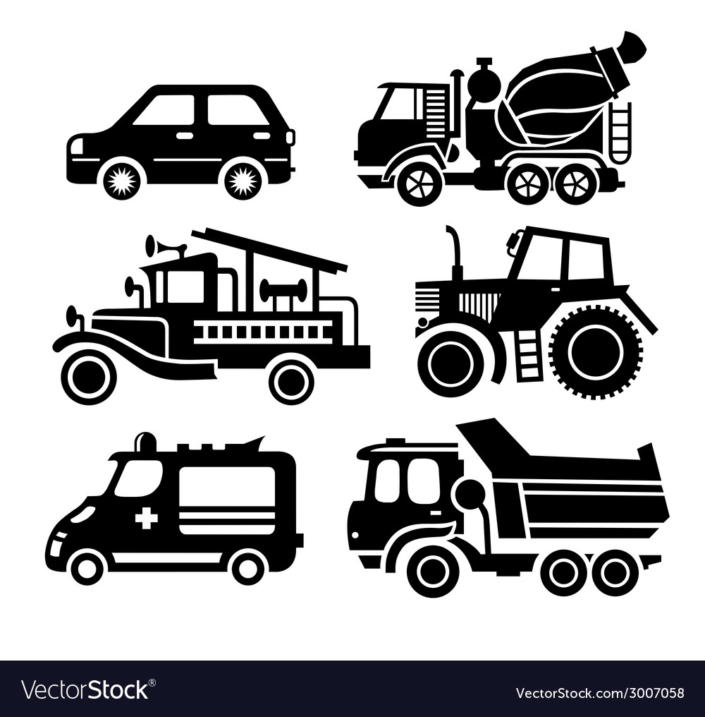 Car icon black transportation set vector | Price: 1 Credit (USD $1)