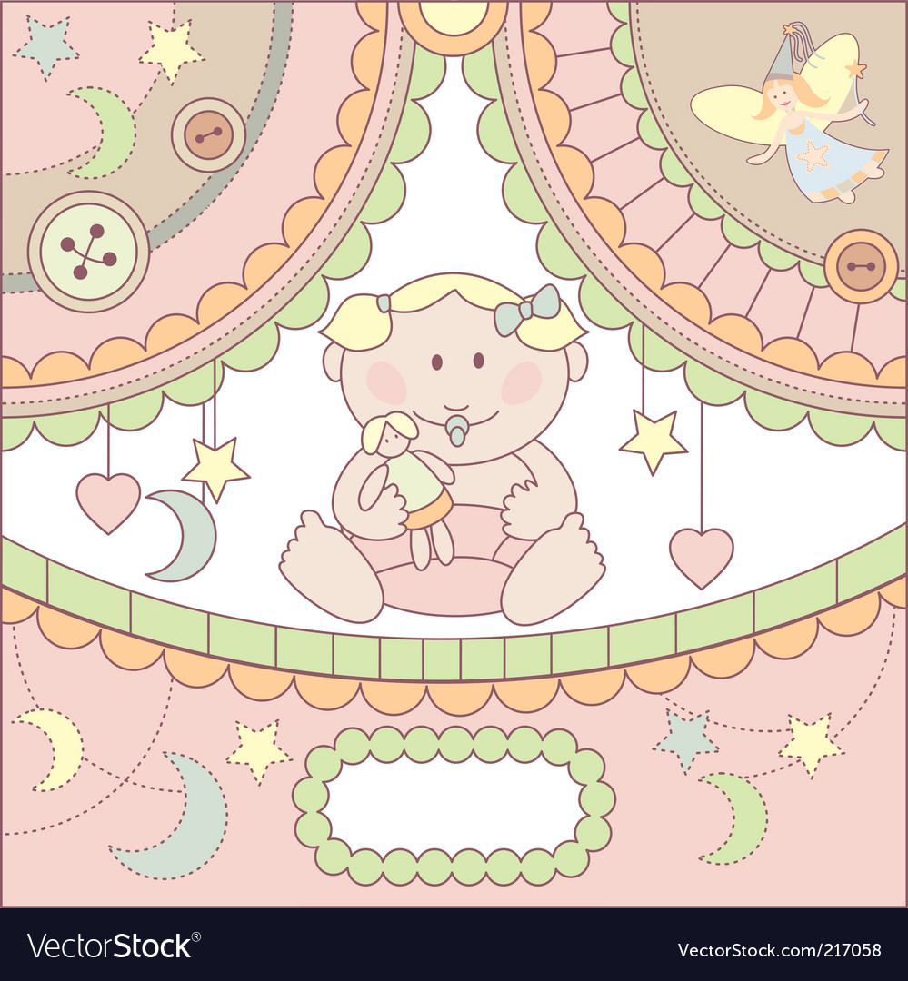 Cute baby girl arrival card vector | Price: 1 Credit (USD $1)
