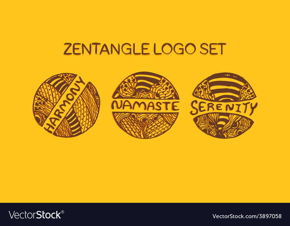 Detailed hand drawn zentangle logo set vector | Price: 1 Credit (USD $1)