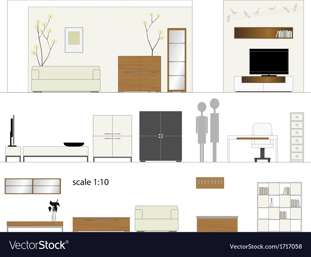Furniture design living room interior furniture vector | Price: 1 Credit (USD $1)