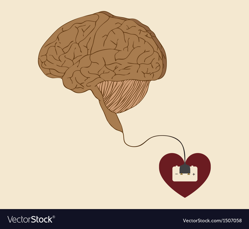 Heart brain and idea connected with power plug vector | Price: 1 Credit (USD $1)