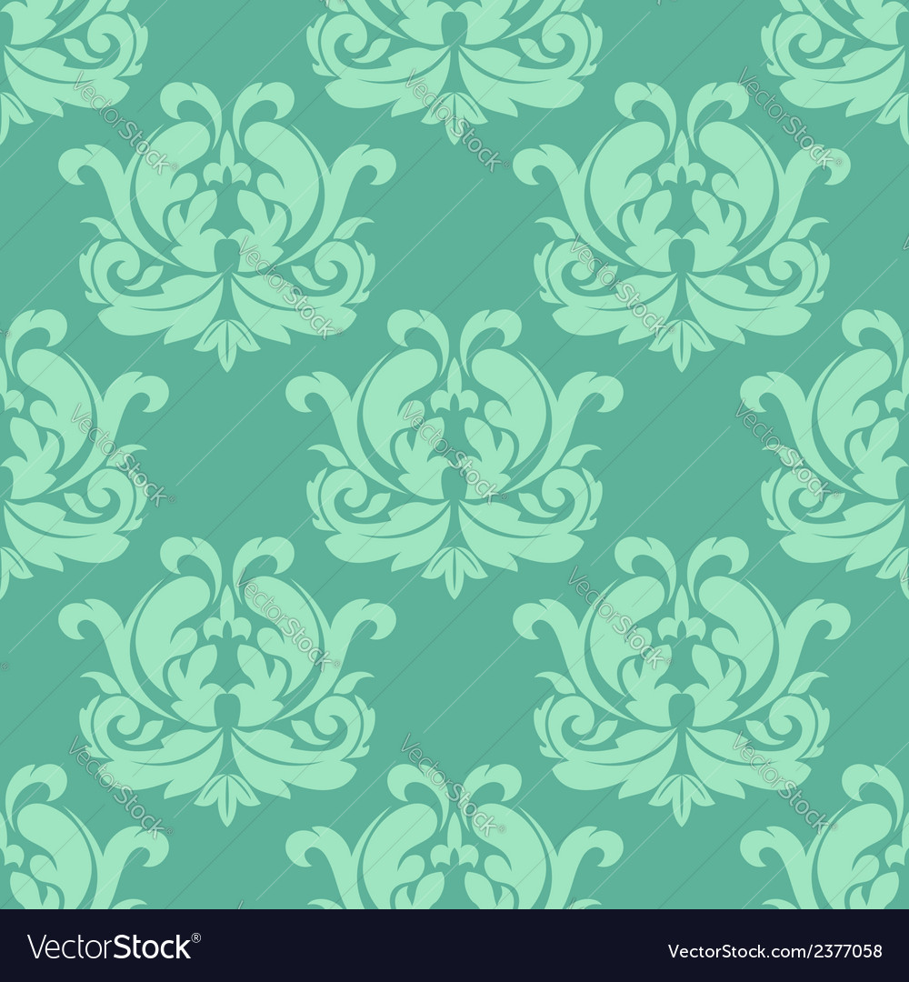 Light green seamless damask pattern vector | Price: 1 Credit (USD $1)