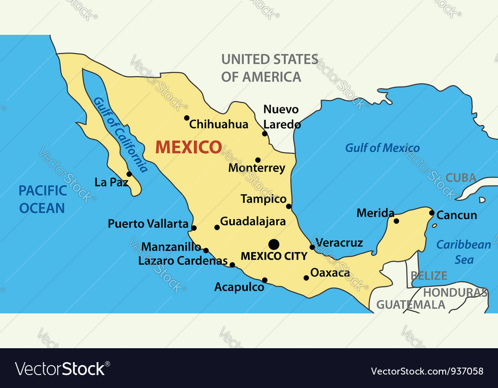 Map of united mexican states vector | Price: 1 Credit (USD $1)