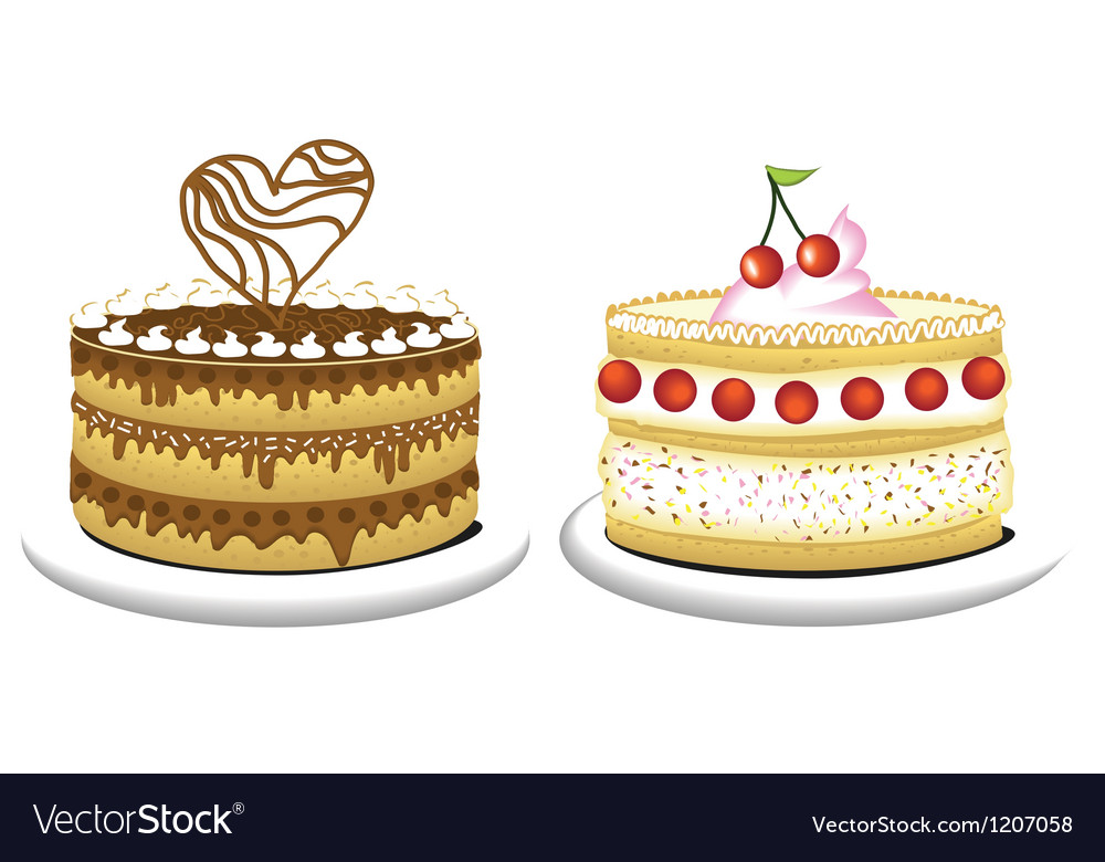 Milky cake and chocolate cake vector | Price: 1 Credit (USD $1)