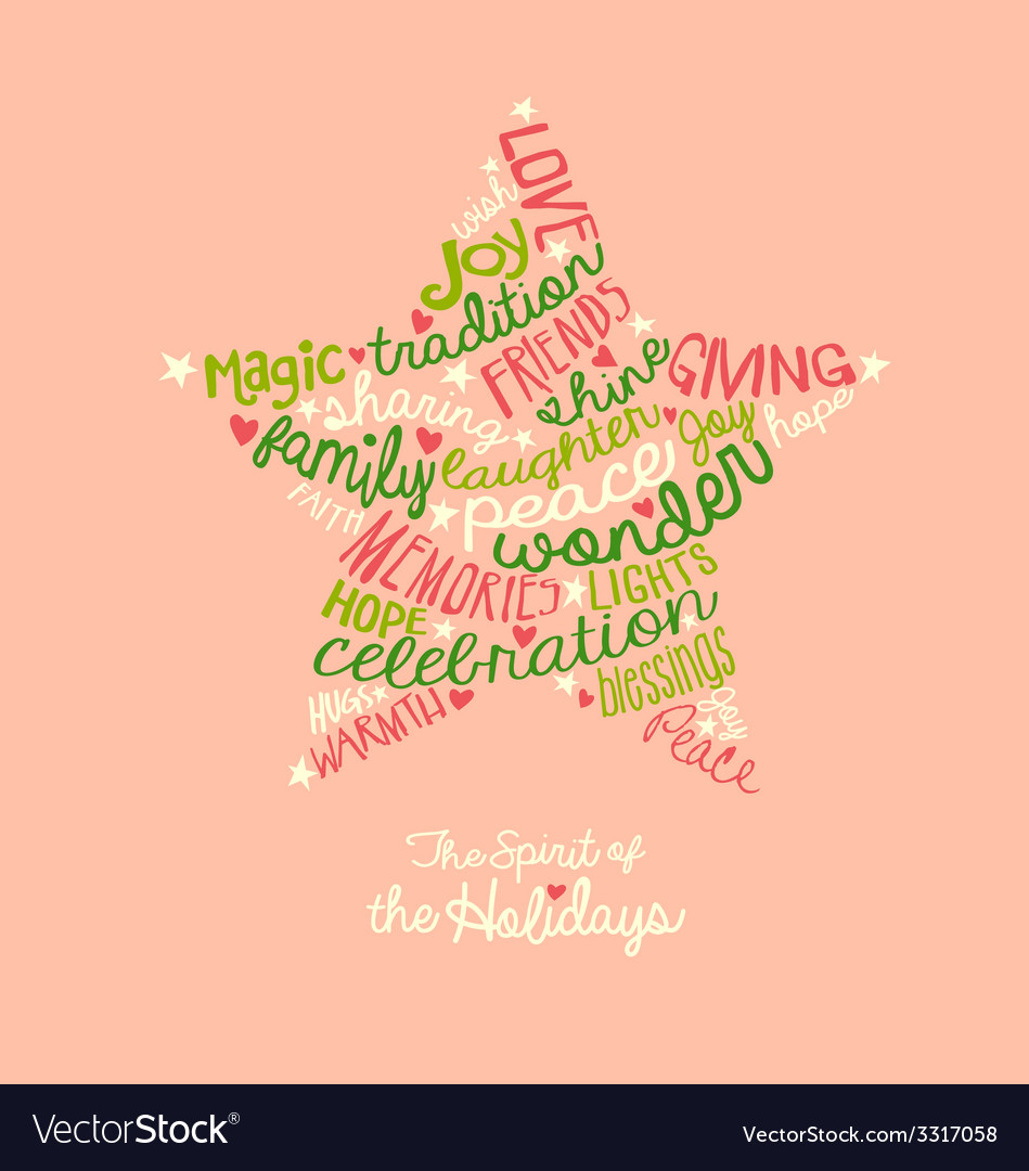 Pink holiday star word cloud greeting card vector | Price: 1 Credit (USD $1)