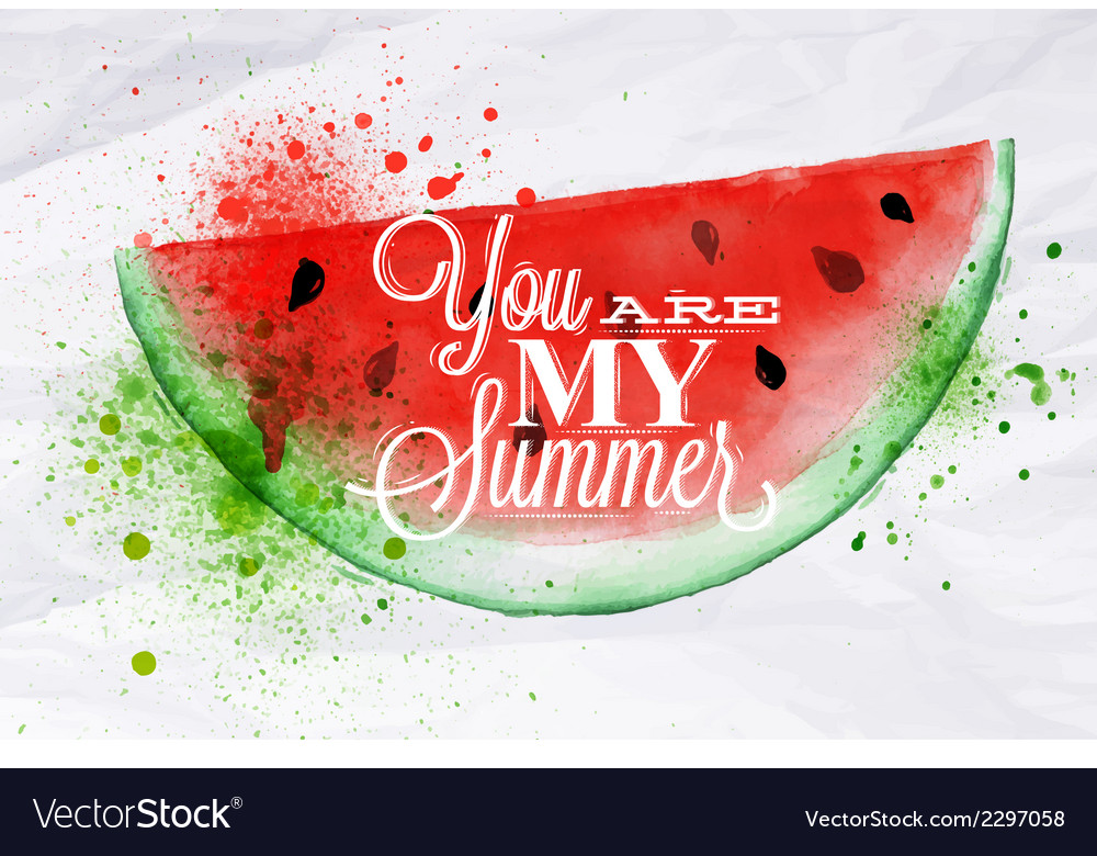 Poster fruit watermelon vector | Price: 1 Credit (USD $1)