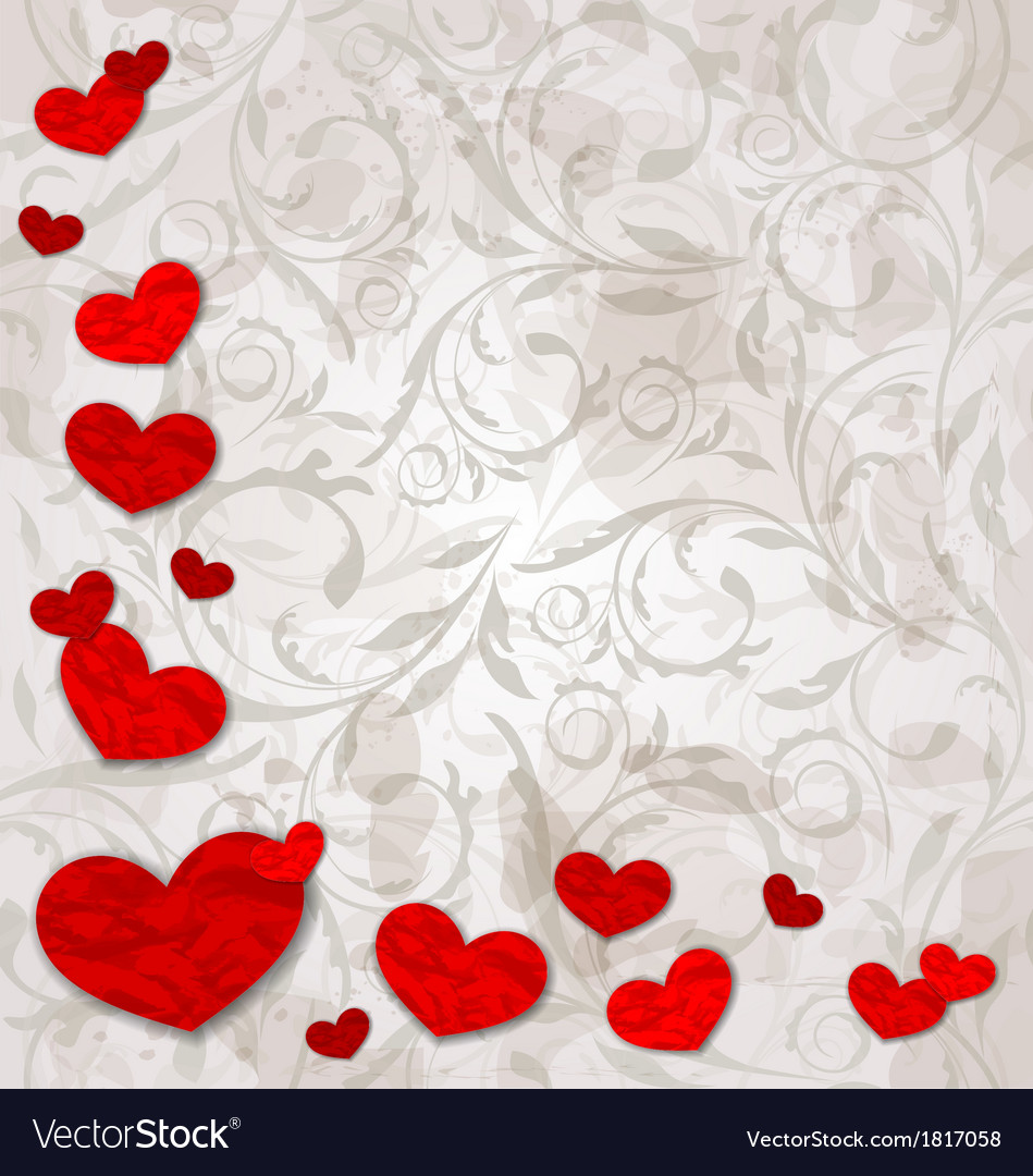 Set crumpled paper hearts on grunge floral vector | Price: 1 Credit (USD $1)