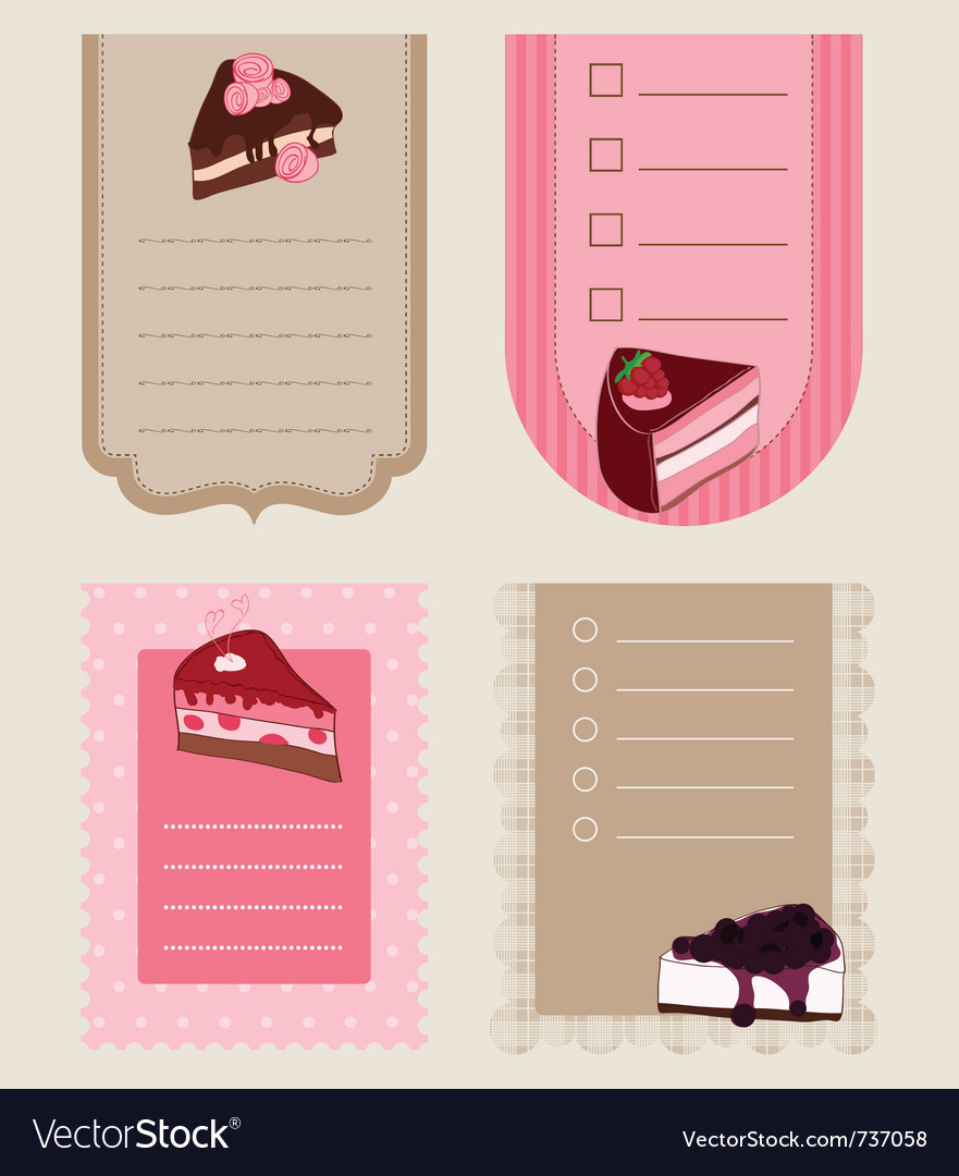 Set of cake tags - for design and scrapbook vector | Price: 1 Credit (USD $1)
