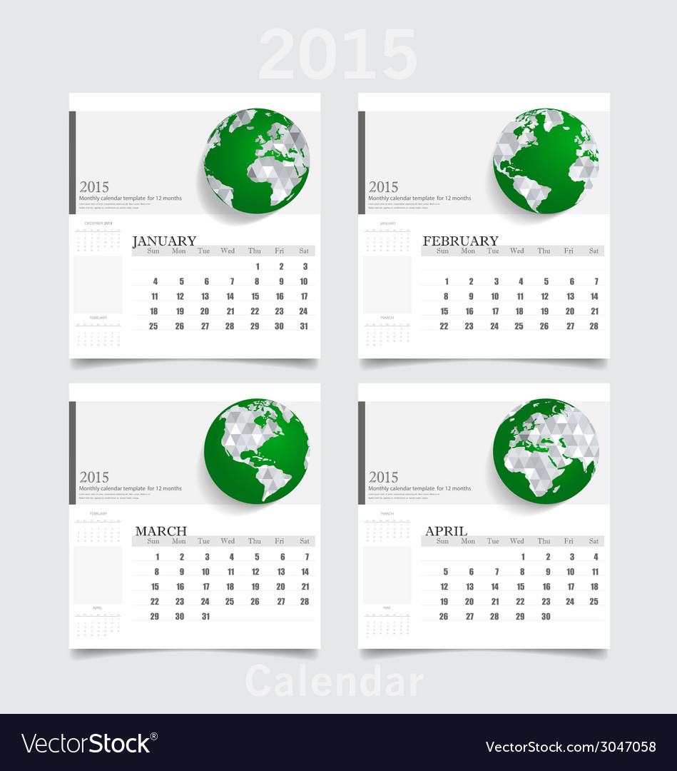 Simple 2015 year calendar january february march vector | Price: 1 Credit (USD $1)