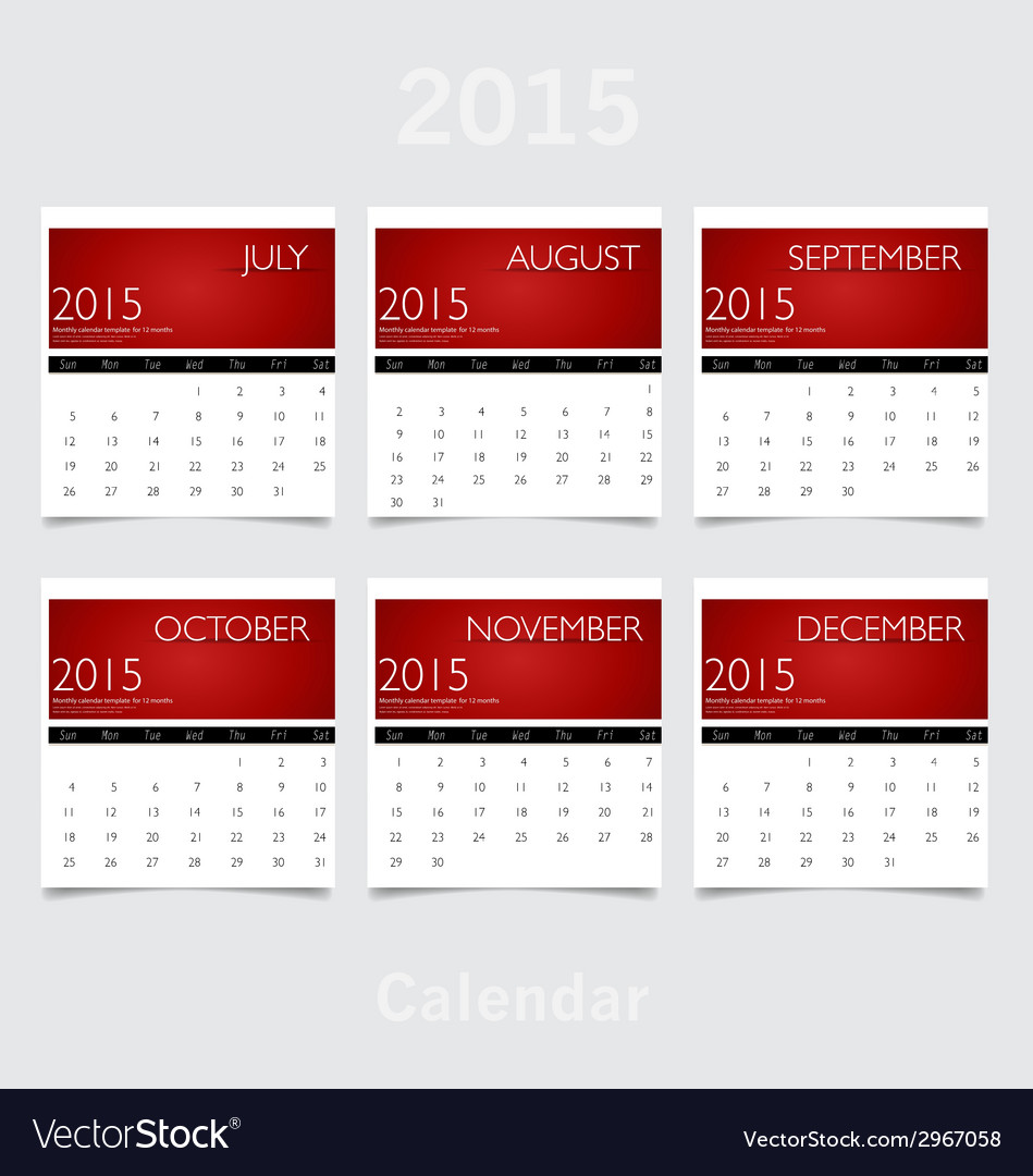 Simple 2015 year calendar july august september vector | Price: 1 Credit (USD $1)