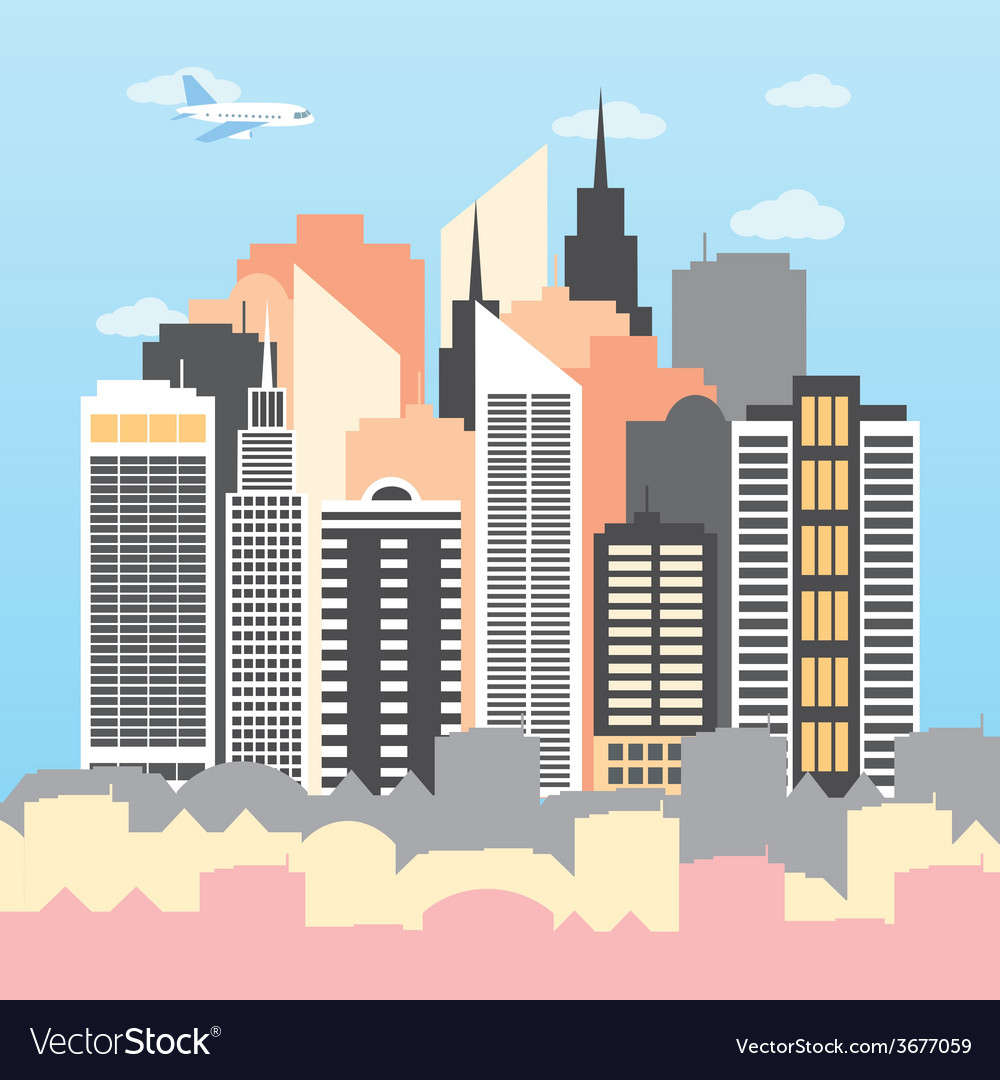 A city on a sunny day vector | Price: 1 Credit (USD $1)