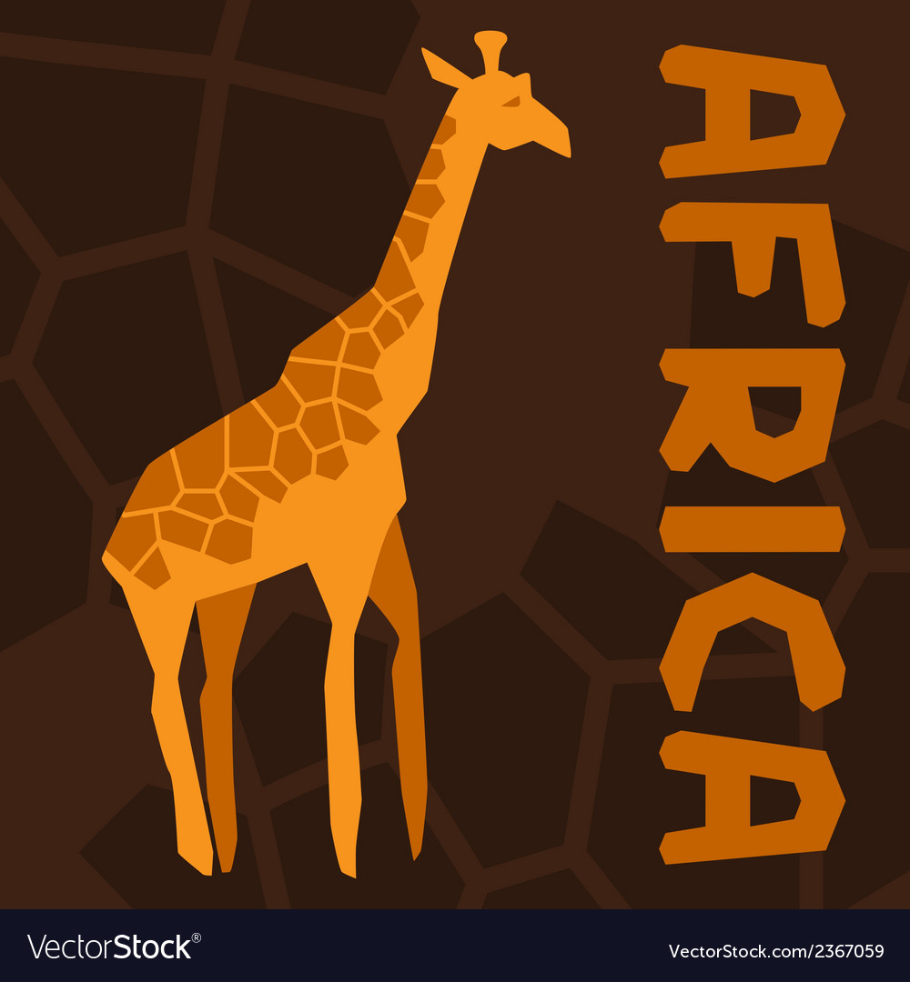 African ethnic background with of giraffe vector | Price: 1 Credit (USD $1)