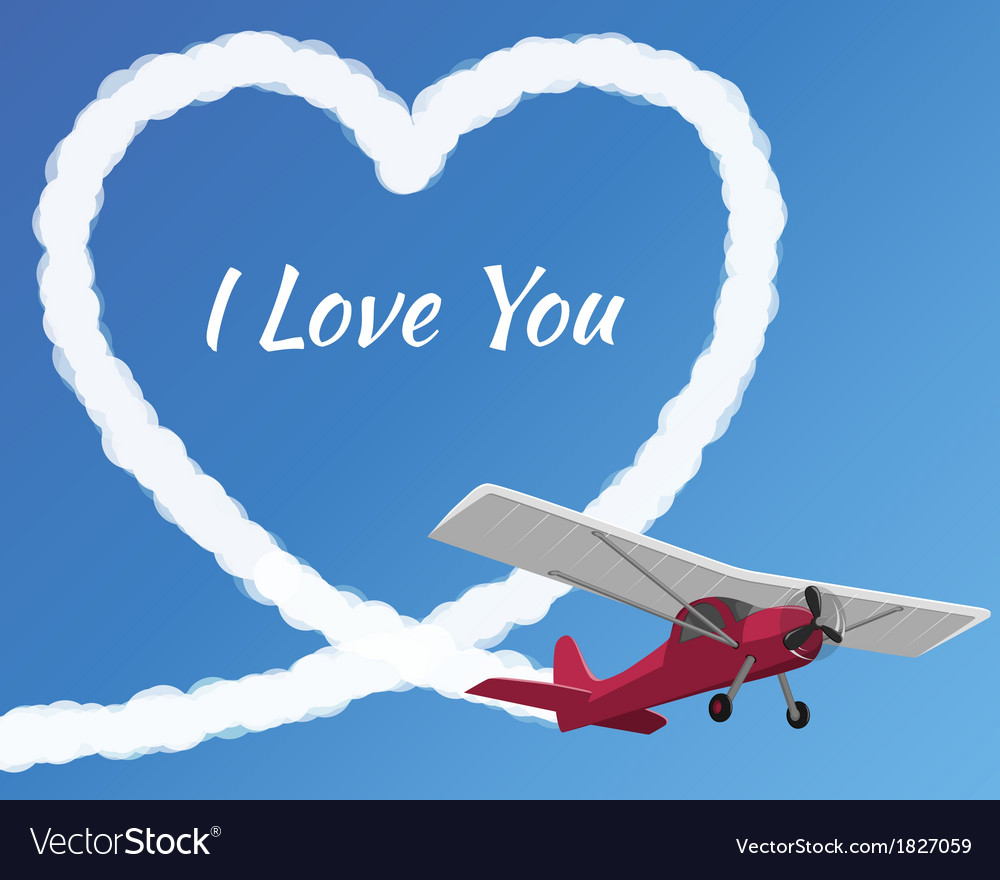 Airplane drawing a cloudy love vector | Price: 1 Credit (USD $1)