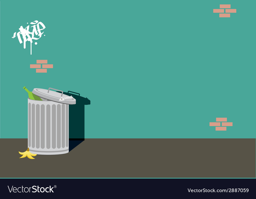 Alley can trash background wall vector | Price: 1 Credit (USD $1)