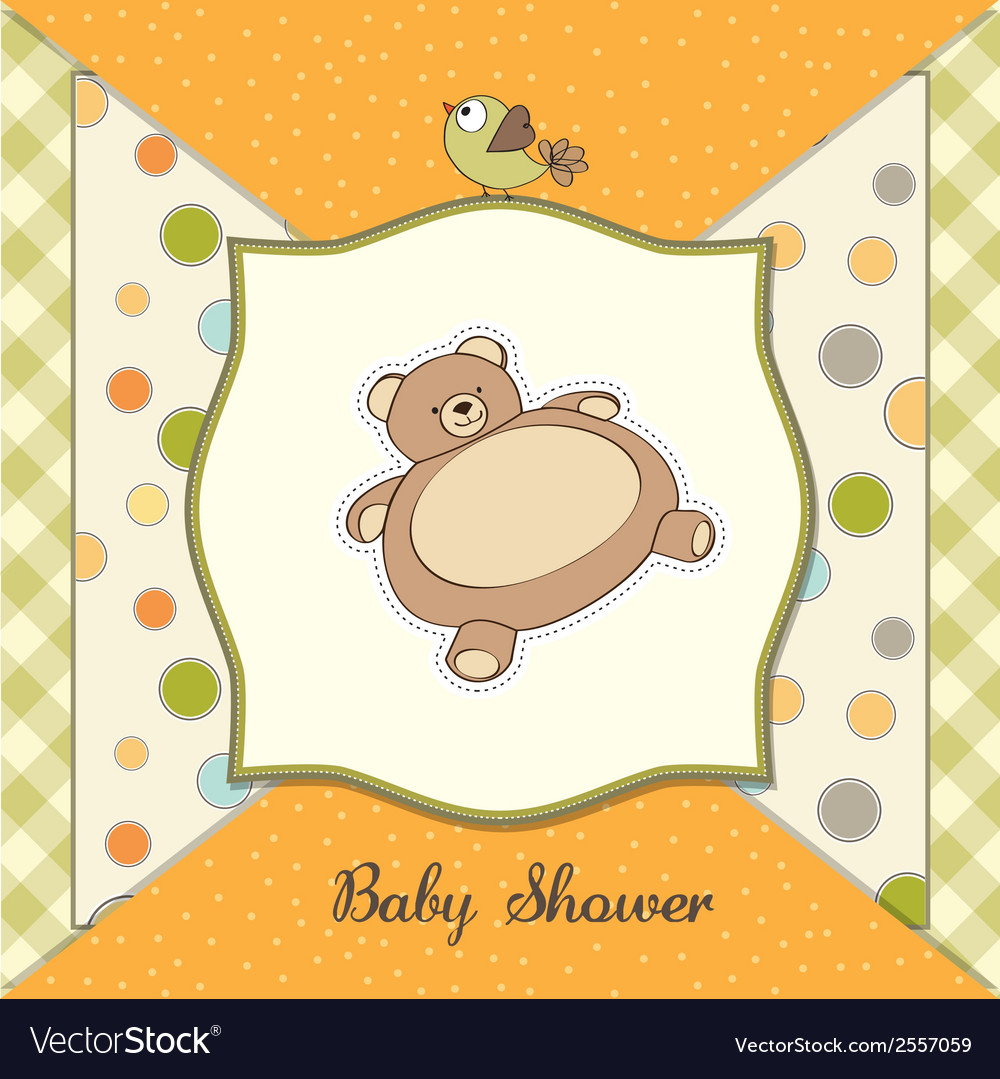 Baby shower card with teddy vector | Price: 1 Credit (USD $1)