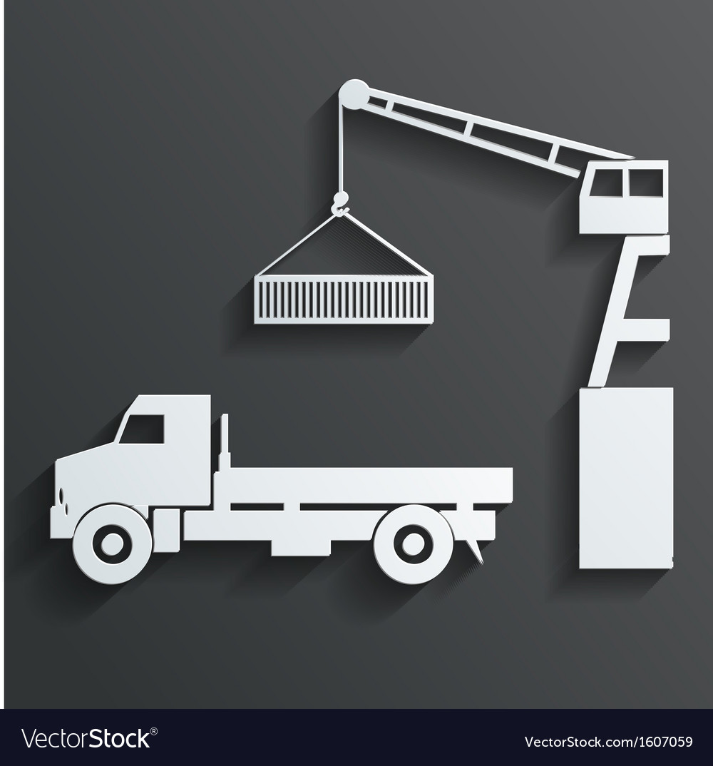 Crane loading onto truck vector | Price: 1 Credit (USD $1)