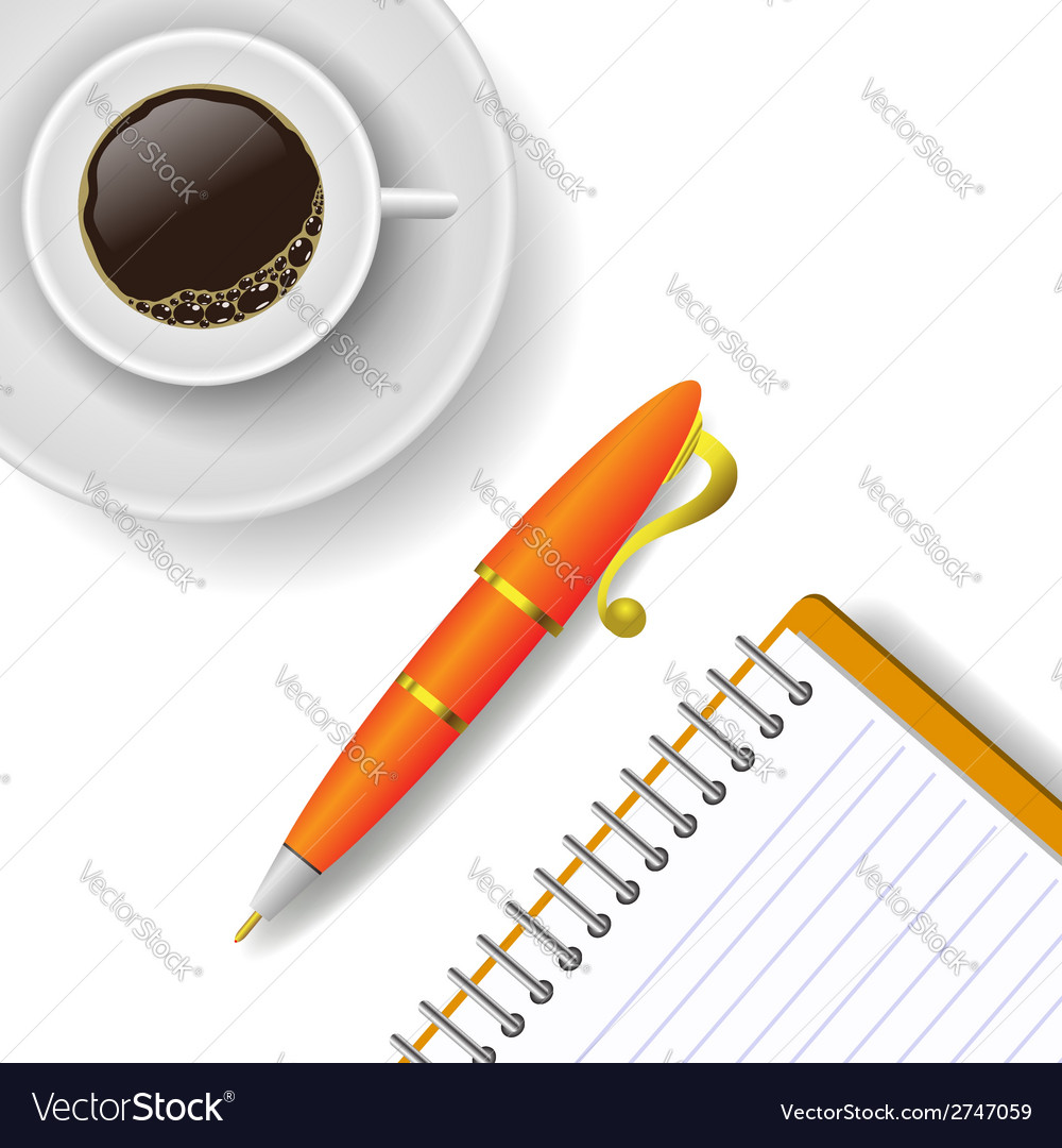 Cup of coffee and pen vector | Price: 1 Credit (USD $1)