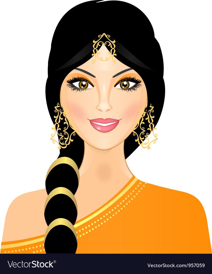 Eastern woman in orange vector
