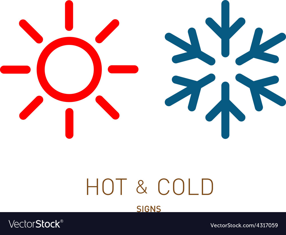 Hot and cold sun and snowflake icons vector | Price: 1 Credit (USD $1)