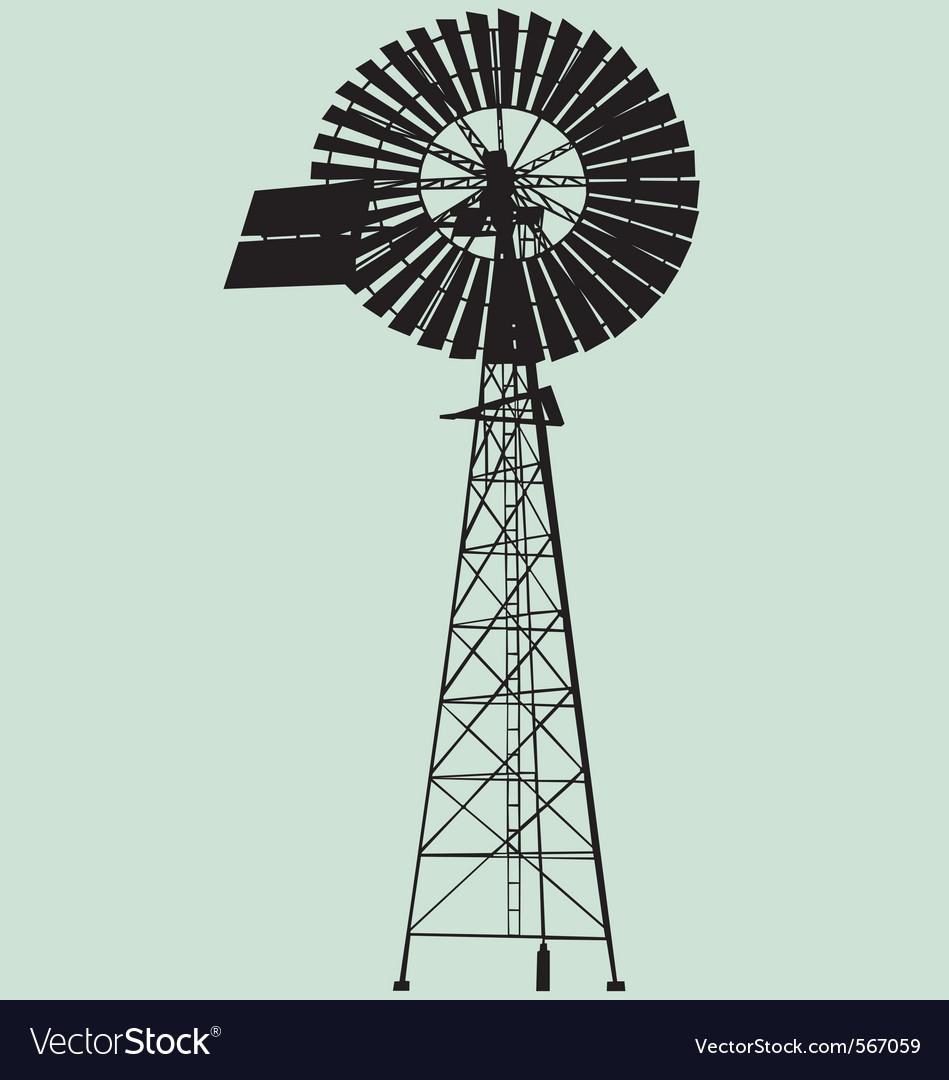 Windpump silhouette vector | Price: 1 Credit (USD $1)