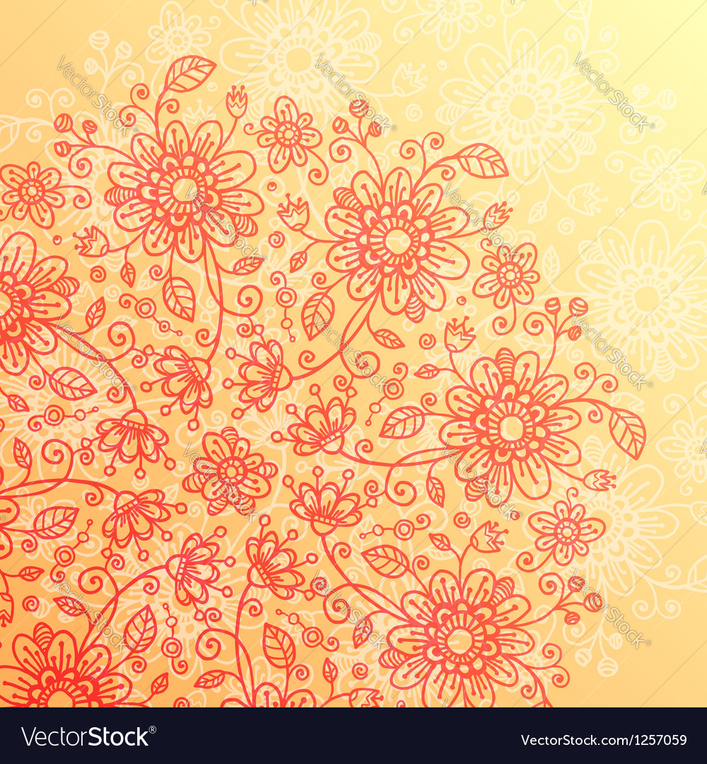 Yellow and pink doodle flowers vintage background vector | Price: 1 Credit (USD $1)