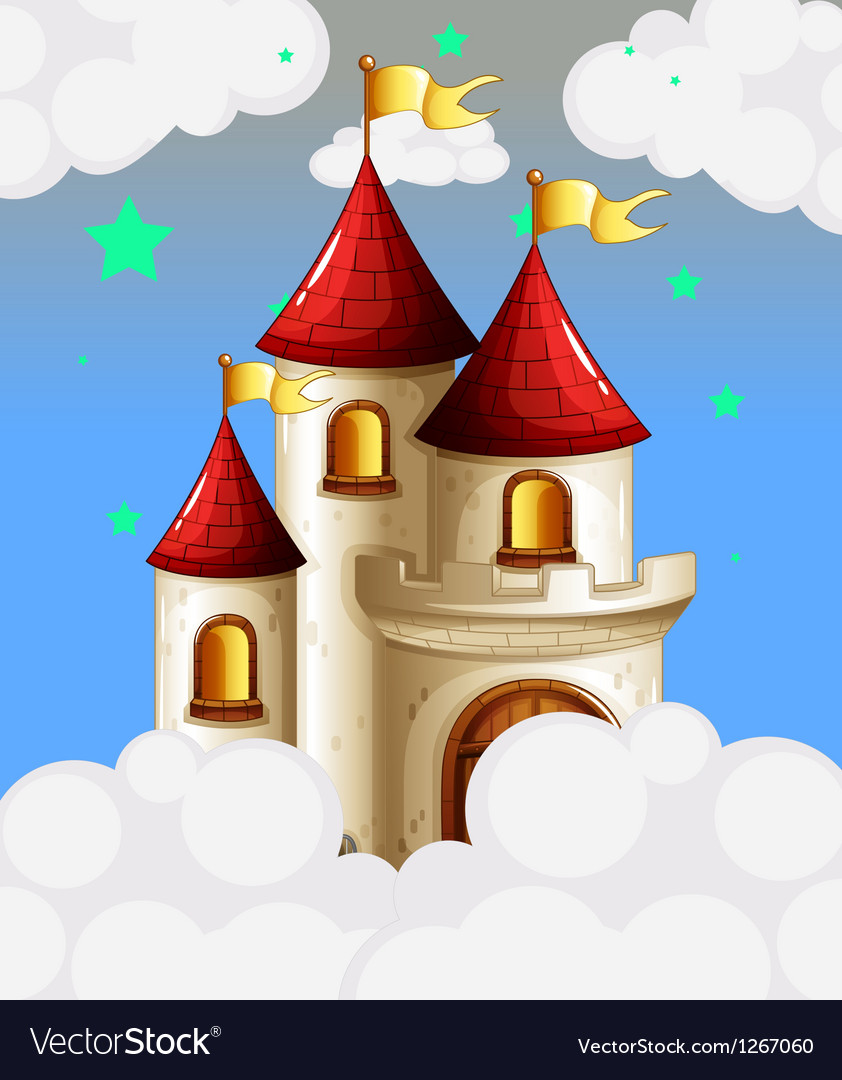 A castle in the sky with yellow banners vector | Price: 1 Credit (USD $1)