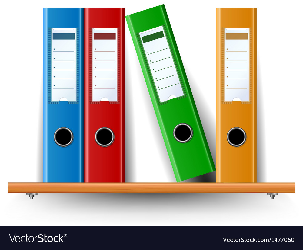 Binder set on wood shelf vector | Price: 1 Credit (USD $1)