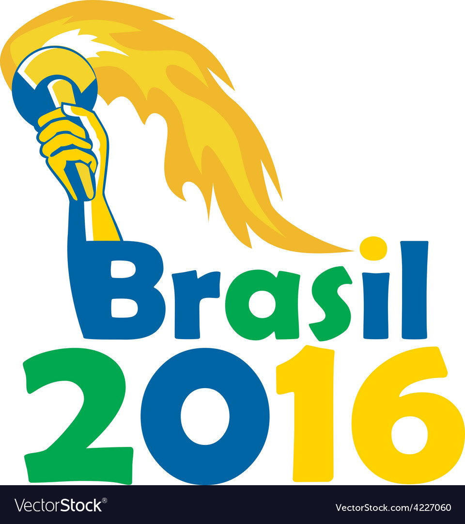 Brasil 2016 summer games athlete hand torch vector | Price: 1 Credit (USD $1)